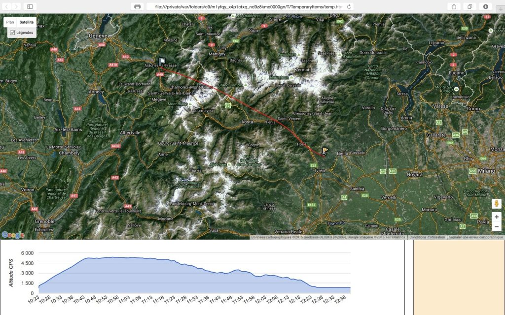 Survol du massif du mont blanc, traversee des Alpes